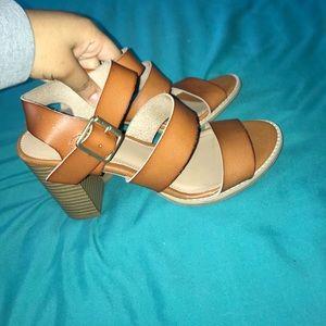 Brown 3 strap heels